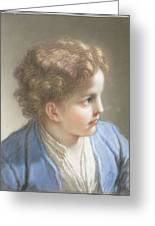 Study Of A Boy In A Blue Jacket , Benedetto Luti Italian, Florence 1666-1724 Rome Greeting Card