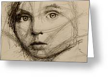 Study Of A Face Greeting Card