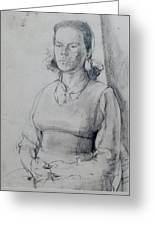 Study Of A Seated Girl. Greeting Card