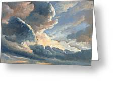 Study Of Clouds With A Sunset Near Rome Greeting Card