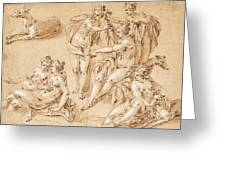 Study Of Diana With Her Nymphs And Hounds Greeting Card