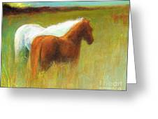Study Of Two Ponies Greeting Card
