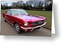 Stunning 1966 Metallic Red Mustang Greeting Card