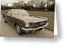 Stunning '66 Mustang In Sepia Greeting Card