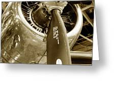 Stunning Propeller In Sepia Greeting Card by Dennis Dame