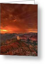Stunning Red Storm Clouds Over The North Rim Grand Canyon Arizona Greeting Card