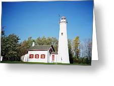Sturgeon Point Lighthouse, Michigan - Horizontal Greeting Card