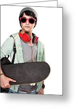 Stylish Boy With Skateboard Greeting Card