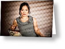 Stylish Vintage Asian Pin-up Lady With Cigarette Greeting Card by Jorgo Photography - Wall Art Gallery