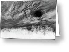 Stylized Monochrome Landscape Of A Storm Greeting Card