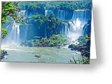 Subtropical Vegetation Surrounds Waterfalls In Iguazu Falls National Park-brazil Greeting Card