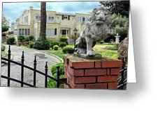 Suburban Antique House With Lion Hayward California 22 Greeting Card