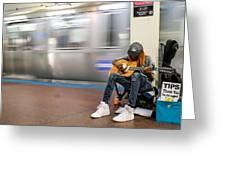 Subway Musician 10 Greeting Card