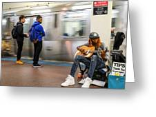 Subway Musician 6 Greeting Card