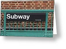 Subway Sign In New York City Greeting Card