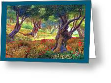 Poppies And Olive Trees Greeting Card