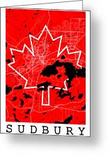 Sudbury Street Map - Sudbury Canada Road Map Art On Canada Flag Symbols Greeting Card