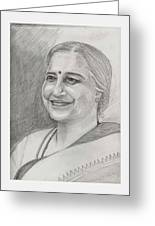 Sudha Murthy A Philanthropist  Greeting Card