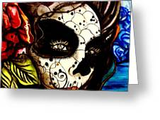 Sugar Skull In Blue  Greeting Card