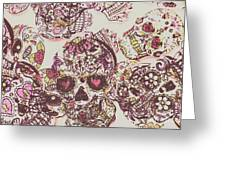 Sugarskull Punk Patchwork Greeting Card
