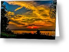 Summer Sunset Over The Delaware River Greeting Card
