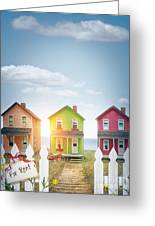 Summer Beach Huts By The Seashore Greeting Card