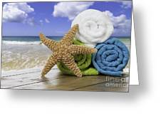 Summer Beach Towels Greeting Card by Amanda Elwell