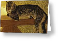 Summer Cat On A Balustrade Greeting Card