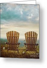 Summer Chairs Sand Dunes And Ocean In Background Greeting Card