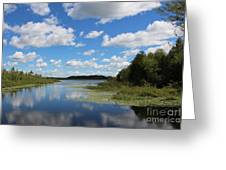 Summer Cloud Reflections On Little Indian Pond In Saint Albans Maine Greeting Card