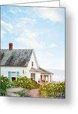 Summer Cottage And Flowers By The Ocean Greeting Card