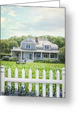 Summer Cottage And White Picket Fence With Flowers Greeting Card