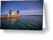 Summer Day At Rockland Breakwater Greeting Card