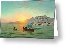 Summer Day In Greenland With An Umiak A Fiord Greeting Card