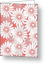 Summer Flowers Red Greeting Card