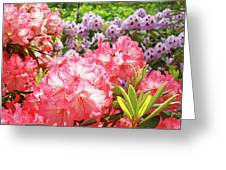 Summer Garden Pink Purple Rhododendrons Baslee Greeting Card