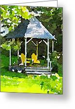Summer Gazebo With Yellow Chairs Greeting Card