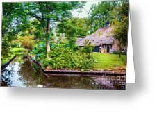 summer in old dutch village, Giethoorn Greeting Card