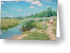 Summer Landscape With Children Greeting Card
