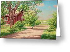 Summer Landscape With Hens Greeting Card