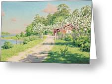 Summer Landscape With House Greeting Card