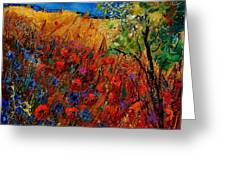 Summer Landscape With Poppies  Greeting Card