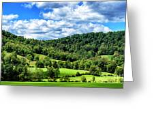 Summer Morning Meadow And Ridge Greeting Card