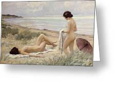 Summer On The Beach Greeting Card by Paul Fischer