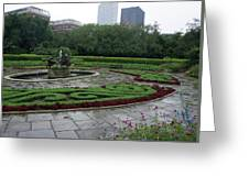 Summer Rain In The Conservatory Garden Greeting Card