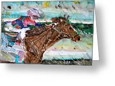Summer Squall Horse Racing Greeting Card by Mindy Newman