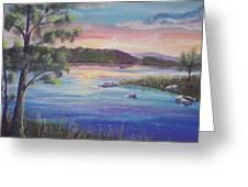 Summer Sunset On Fish Lake Greeting Card