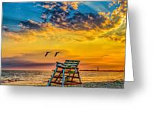 Summer Sunset On The Beach Greeting Card