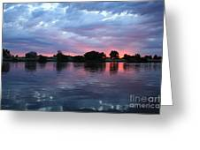 Summer Sunset On Yakima River 4 Greeting Card