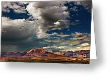Summer Thunderstorm Clouds Form Over West Temple Zion National Park Utah Greeting Card
